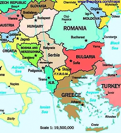 Map of the Balkans